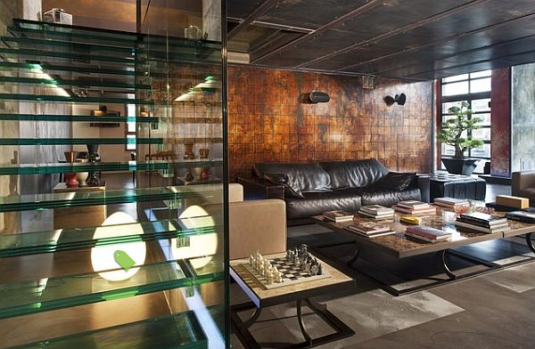 living room with copper wall